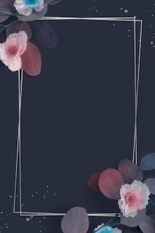 Design de moldura floral retangular em branco