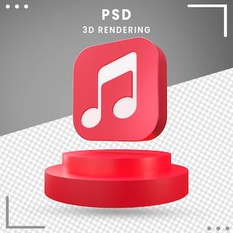 Design de música de logotipo de ícone girado 3d