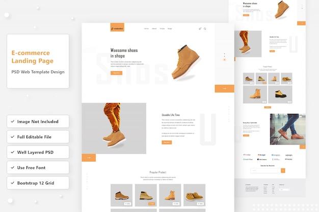 Design de página de destino da web de sapatos de comércio eletrônico