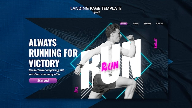 Design de página de destino do conceito de esporte