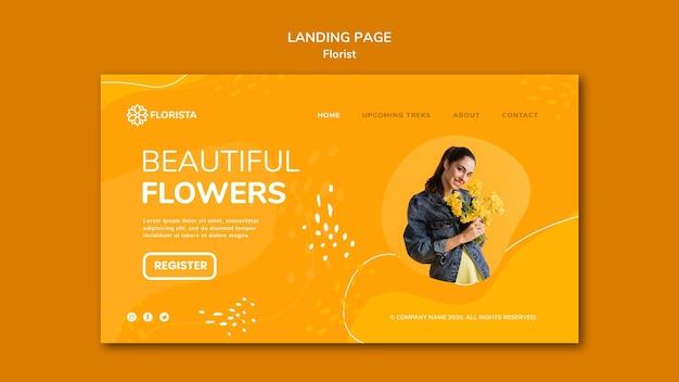 Design de página de destino do conceito de florista