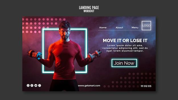 Design de página de destino do conceito de treino