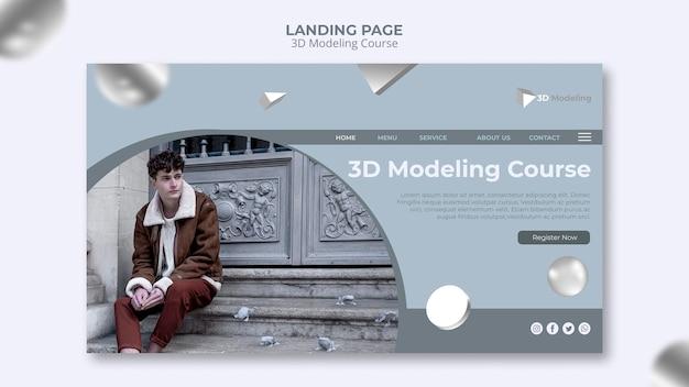 Design de página de destino do curso de modelagem em 3d