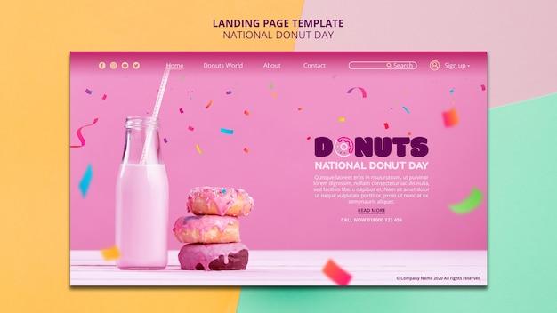 Design de página de destino do dia nacional da rosquinha