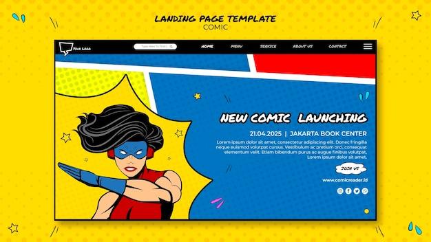 Design de página de destino em quadrinhos
