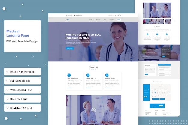 Design de página de destino médica na web