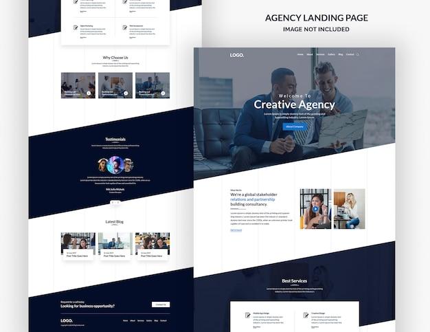 Design de página de site de agência de design criativo