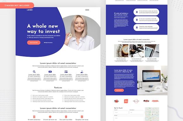 Design de página de site de banco de investimento