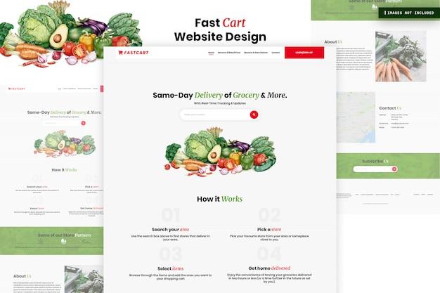 Design de página de site de carrinho rápido