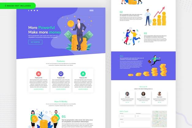 Design de página de site de dinheiro