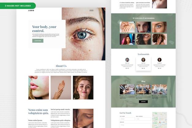 Design de página de site de pele macia
