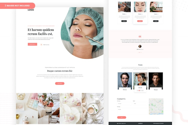 Design de página de site de tratamento de pele