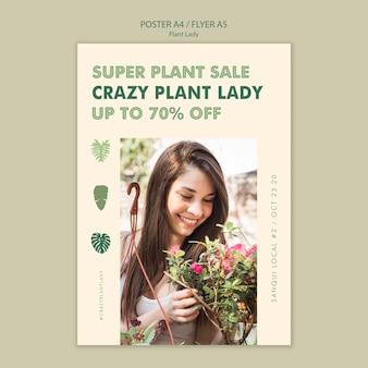 Design de panfleto de conceito de senhora de planta