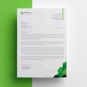 Design de papel timbrado abstrato com acento verde