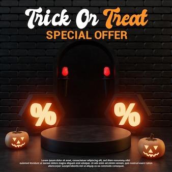 Design de pódio de venda de promoção com tema de halloween