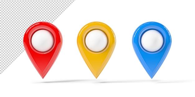Design de ponto de mapa vermelho em cores diferentes