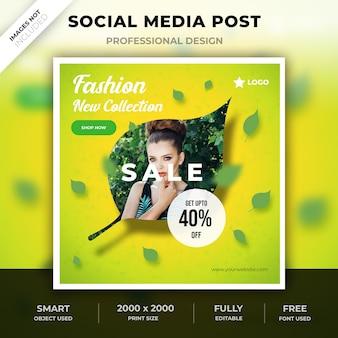 Design de pós de folha de mídia social