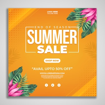 Design de postagem promocional de final de verão