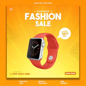 Design de postagem promocional de venda de moda de verão