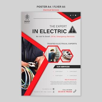 Design de pôster de serviços especializados em eletricidade