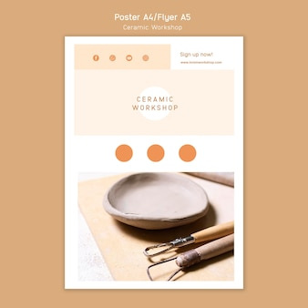 Design de pôster para oficina de cerâmica