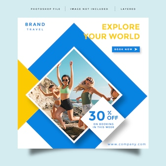 Design de promoção de postagem de feed de mídia social de viagens