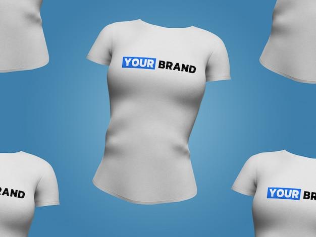 Design de renderização 3d de maquete de t-shirt de mulher