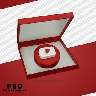 Design de renderização 3d do youtube isolado
