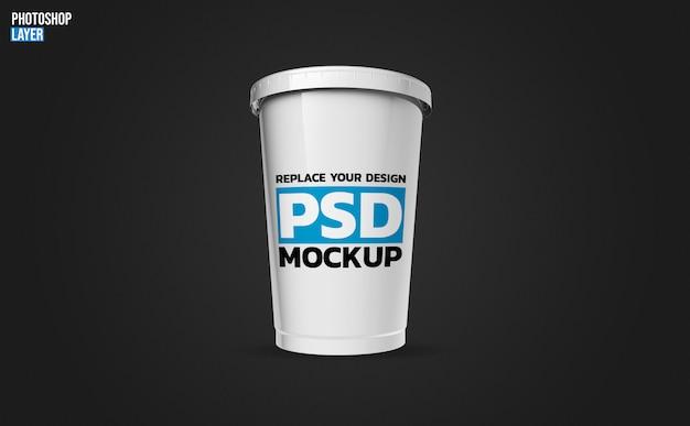 Design de renderização de maquete de copo plástico