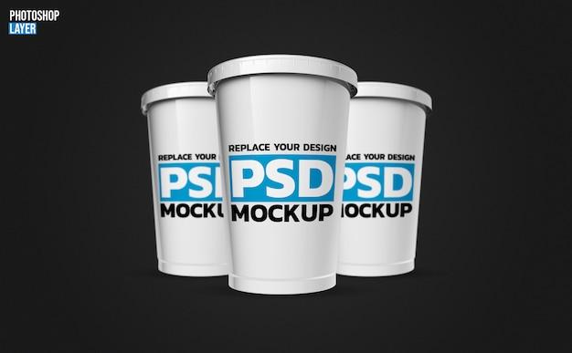 Design de renderização de maquete de copo plástico Psd Premium