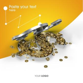 Design de renderização de moedas de ouro 3d