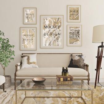 Design de sala de estar clássico moderno com moldura de maquete