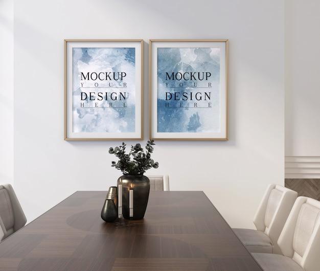 Design de sala de jantar clássico moderno com moldura de maquete
