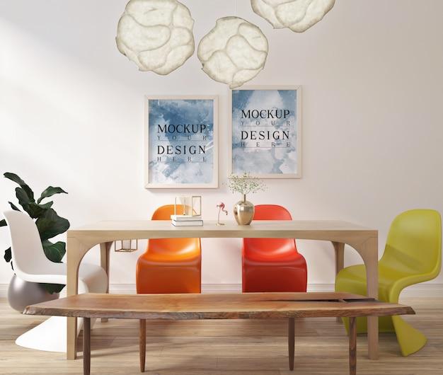 Design de sala de jantar contemporânea moderna com cartaz de quadro de maquete