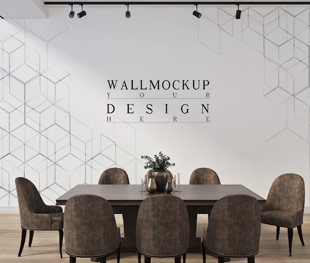Design de sala moderndinning com parede de maquete