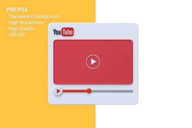 Design de tela 3d do player de vídeo do youtube ou interface do player de mídia de vídeo