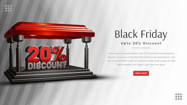 Design do banner da black friday com 20 por cento de desconto