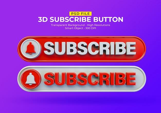 Design do botão de inscrição 3d
