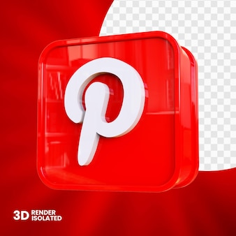 Design do botão do app pinterest 3d