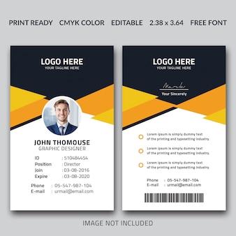Design do cartão de identificação do criativo