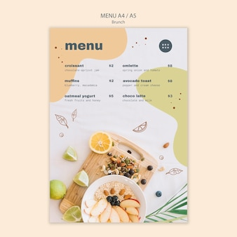 Design do menu com deliciosos pratos de brunch