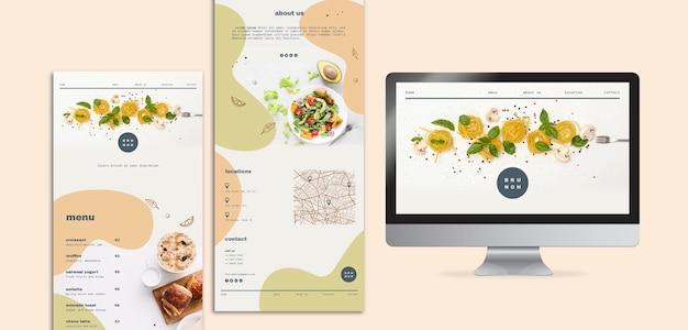 Design do menu para brunch com computador