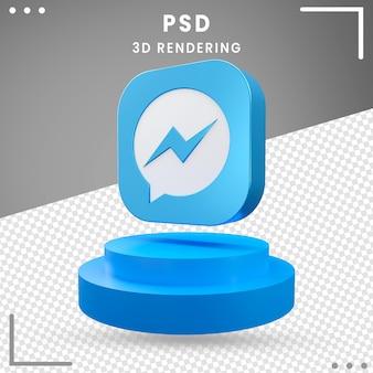Design do messenger do logotipo do ícone girado 3d
