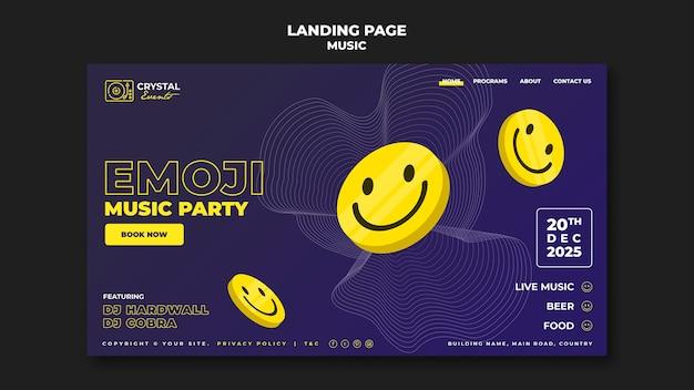 Design do modelo da página de destino da festa de música emoji