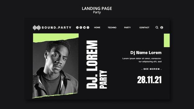 Design do modelo da página de destino da festa