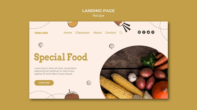 Design do modelo da página de destino da receita