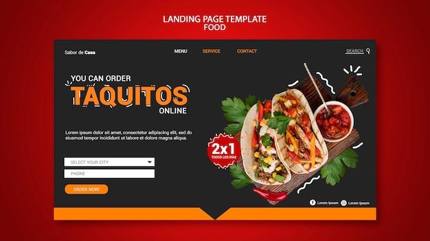 Design do modelo da página de destino de alimentos
