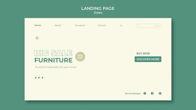 Design do modelo da página de destino de vendas