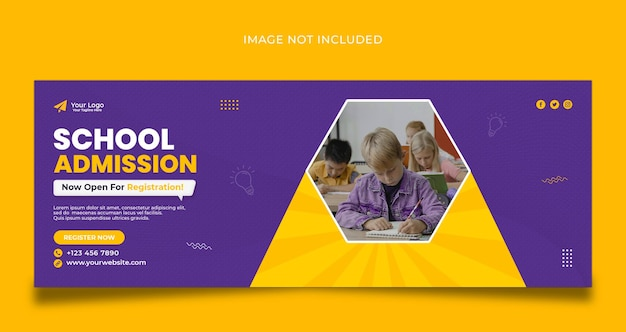 Design do modelo de capa do facebook para admissão na escola