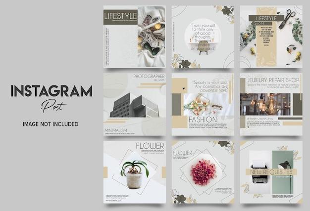 Design do modelo de postagem do instagram para estilo de vida